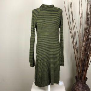 PRANA | Striped Green Cowl Neck Long Sleeve Dress